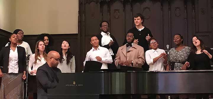 Black Church choir accompanied by pianist