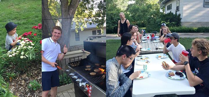 A collage of images from the first chemistry summer research picnic, showing a student grilling burgers, students around a picnic table eating, and the young son of a faculty member looking at brightly-colored flowers.