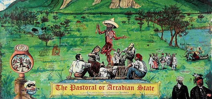 Enrique Chagoya, The Pastoral or Arcadian State: Illegal Alien's Guide to Greater America, 2006. Lithograph, © 2006 Enrique Chagoya. Image courtesy of Shark's Ink., Lyons, Colorado. Faulconer Gallery, Grinnell College Art Collection.