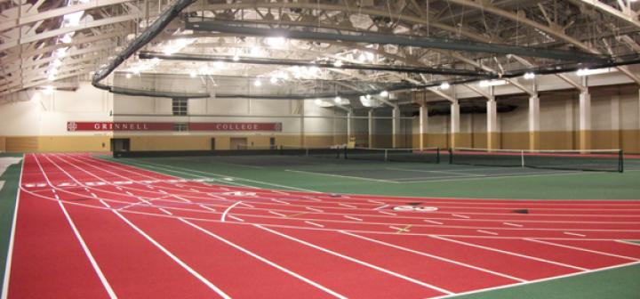 interior of fieldhouse showing track