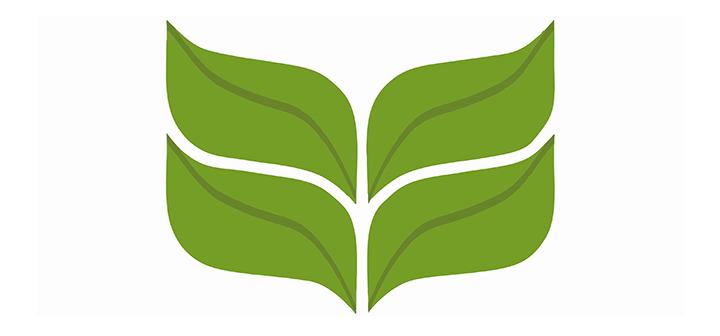 Laurel leaf logo done in greens