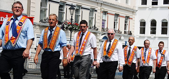 Orange Order marchers in the center of Londonderry