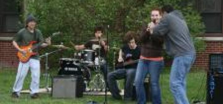 A student band performs outside