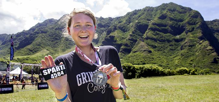 Misha Gelnarova '18 shows off her Spartan Race number