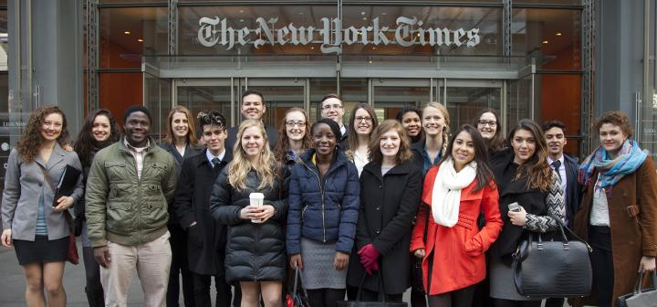 Student group shot in front of New York Times entrance