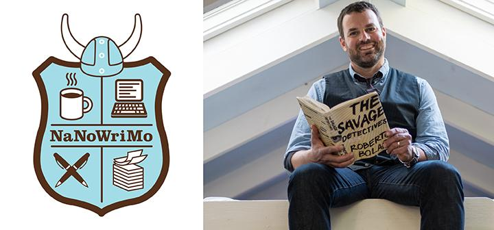 NaNoWriMo shield and Grant Faulkner