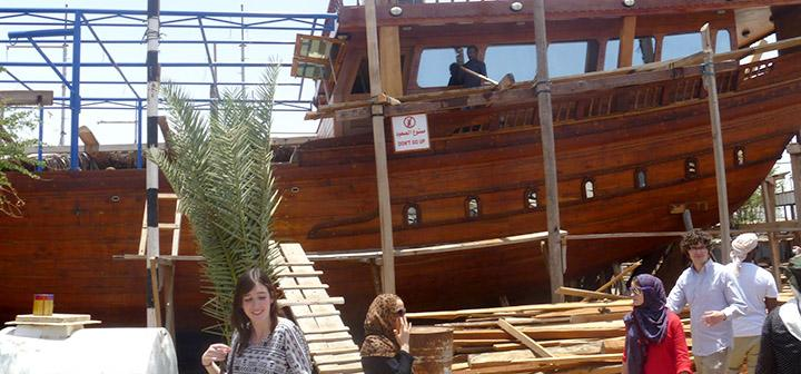 Boat construction in dry dock