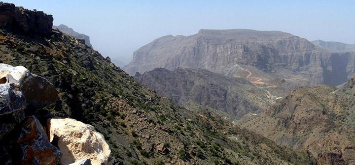 Road crosses mountain peaks