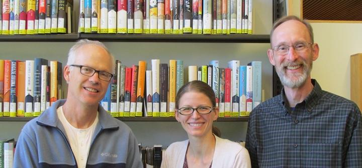 GC librarians Phil Jones, Julia Bauder and Kevin Engel