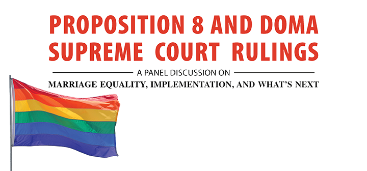 Proposition 8 and DOMA Supreme Court Rulings image with rainbow flag