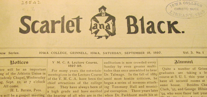 Scarlet and Black masthead for Saturday, Sept. 18, 1897
