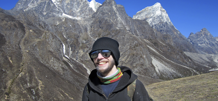 Nate Janega '06 with Everest in the background