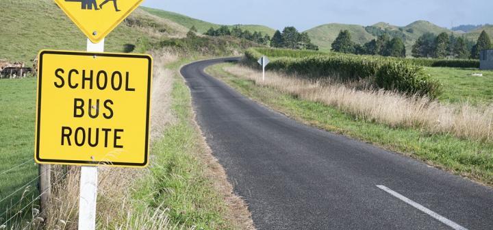 School bus route sign