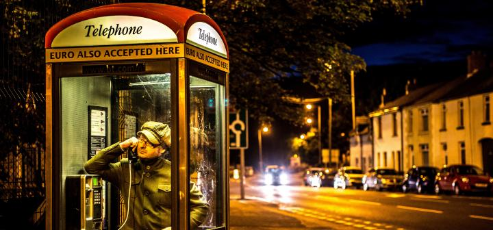 Hanvey in phone booth