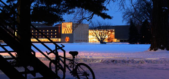 Joe Rosenfield '25 Center across Mac Field on a Winter's Night