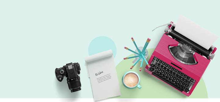 ExLibris Library System Banner with Typewriter and Camera