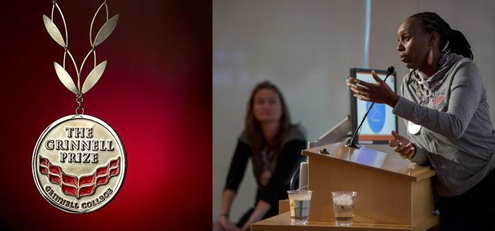 Julian Ingabire Kayibanda (at podium) and Elizabeth Scharpf of SHE