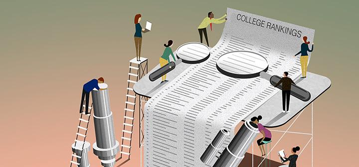 Illustration of people studying college rankings