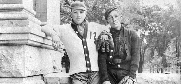 Old photo of two baseball players standing together