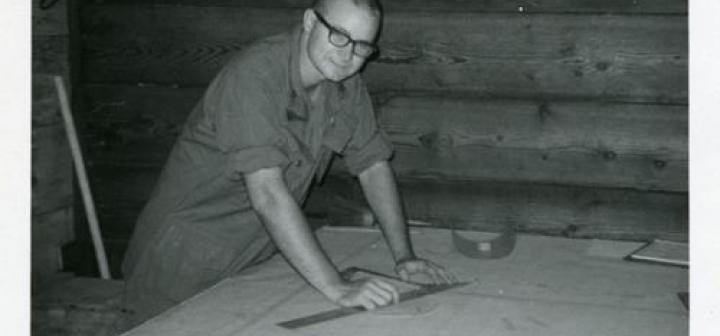 Holbrook calculated the trajectory of artillery shells on plywood like this.