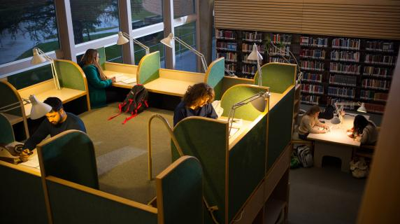 Students studying in Burling Library