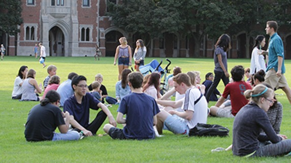groups of students on mac field