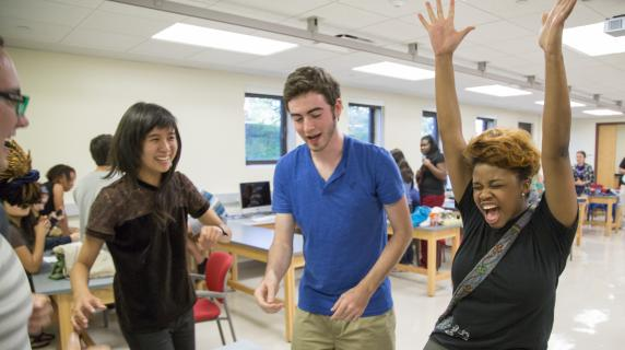 Students in a lab on campus