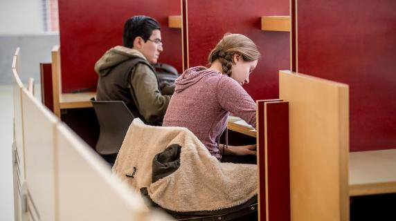 two students in study carrels