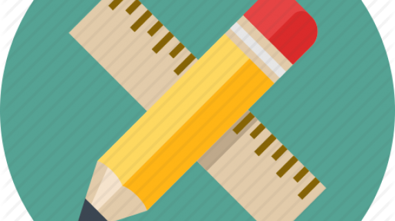 Math icon, pencil and ruler