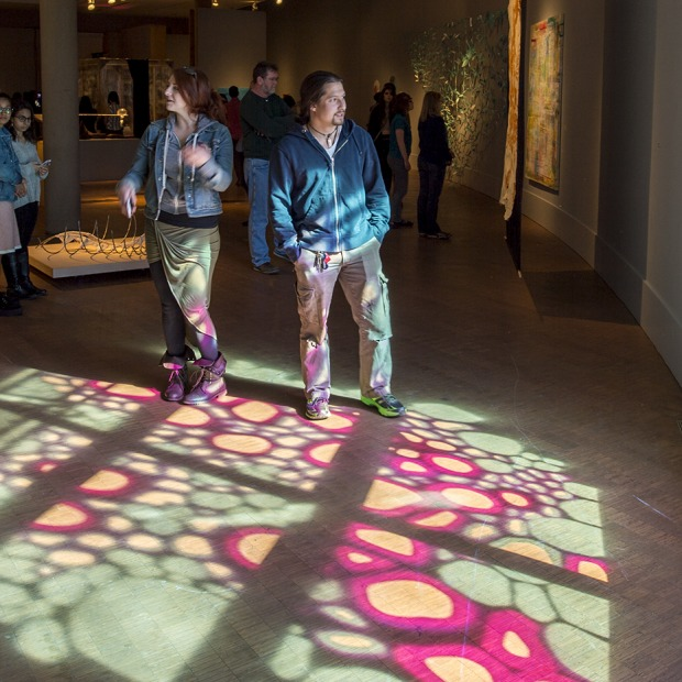 A colorful pattern of sunlight shines into the Museum of Art.