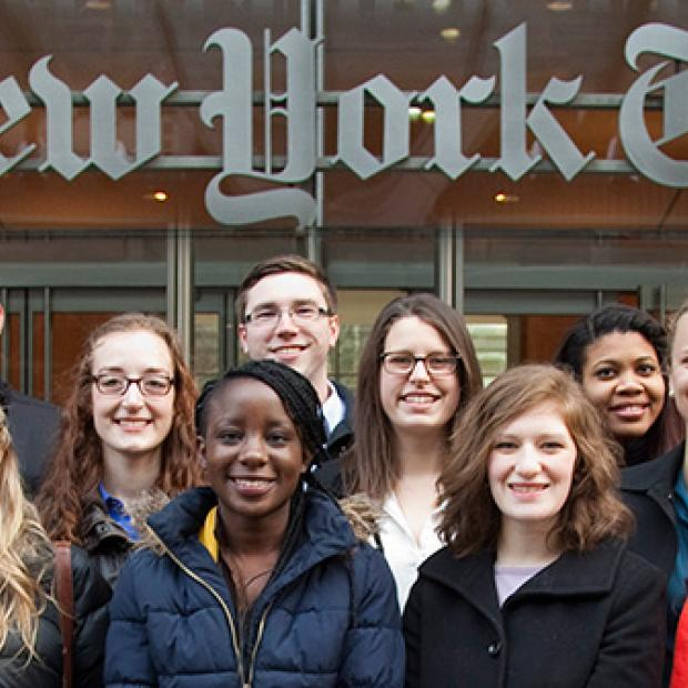 Students in front of New York Times building