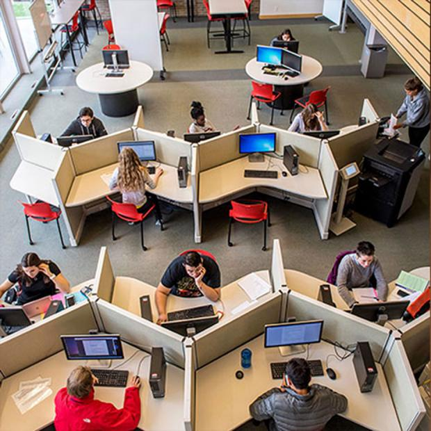 overhead view of library study carrels