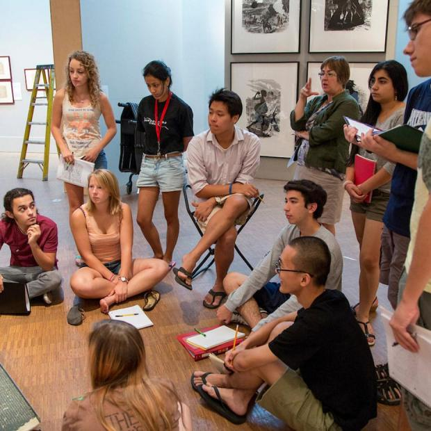 Class sits on floor of Faulconer Gallery