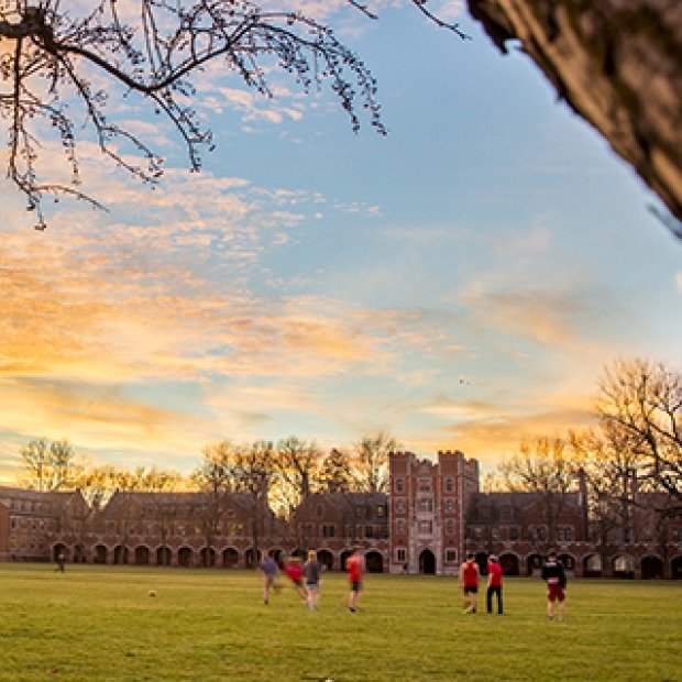 Students playing soccer on MAC field