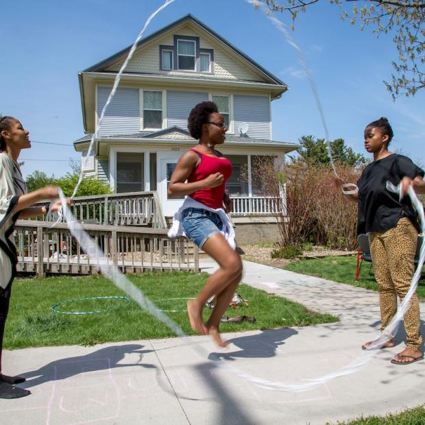 Students jump rope outside the Black Cultural Center