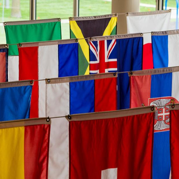 flags hanging in JRC