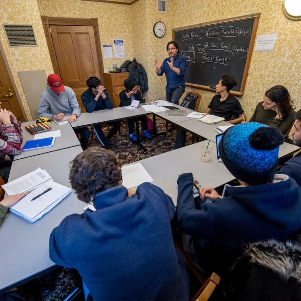 tutorial class - 11 students in Goodnow Hall