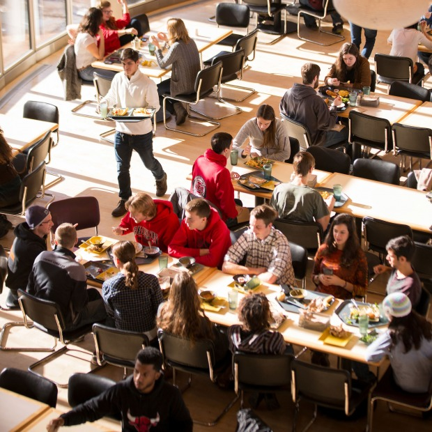 Students dining in Marketplace