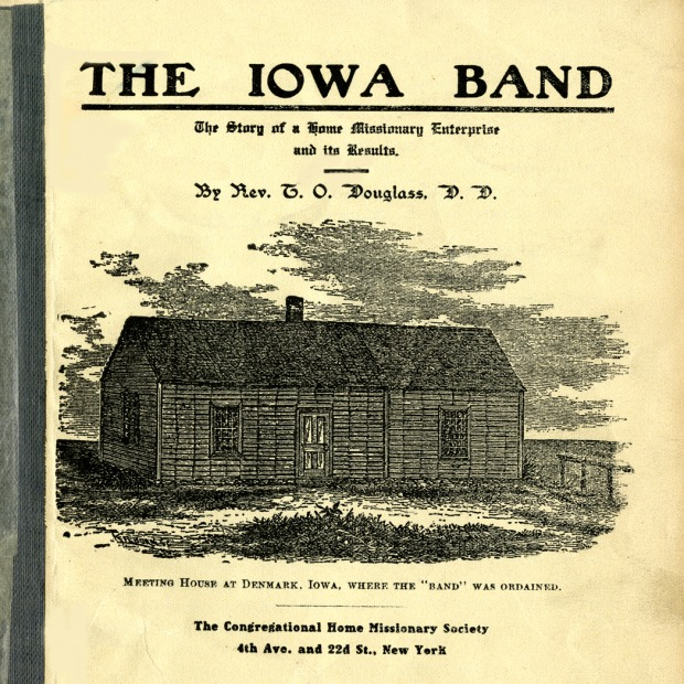 Cover of booklet illustration of meeting house in Denmark, Iowa, where the Band was ordained