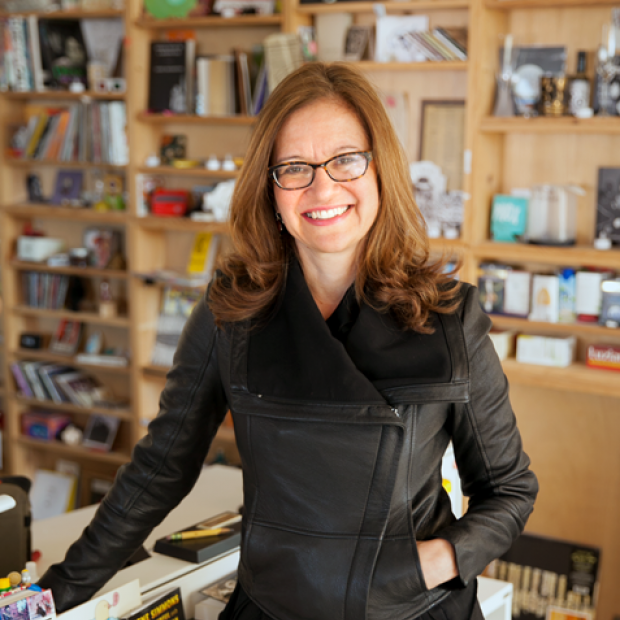 Anya Grundmann stands in front of Tiny Desk