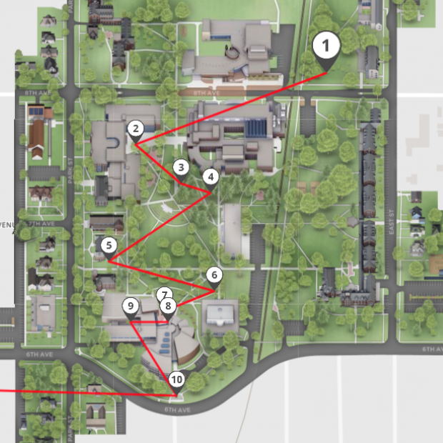 Map of campus sculpture