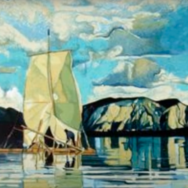 Print by Fran Bull showing a sailing raft on a lake in a mountain landscape
