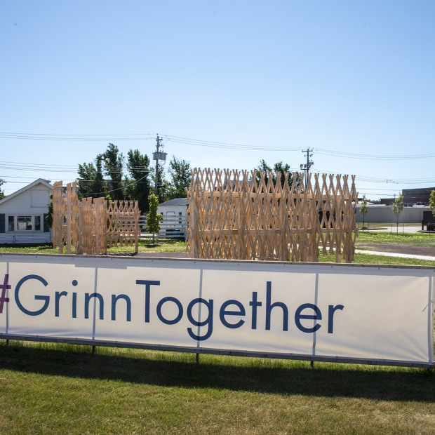 Sign in Grinnell with text #GrinnTogether