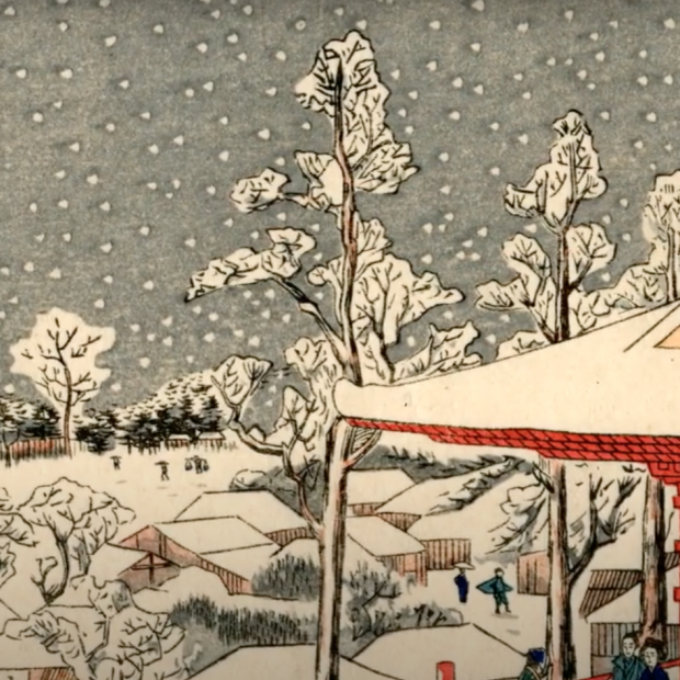 Japanese woodblock print showing a winter scene with trees in the snow