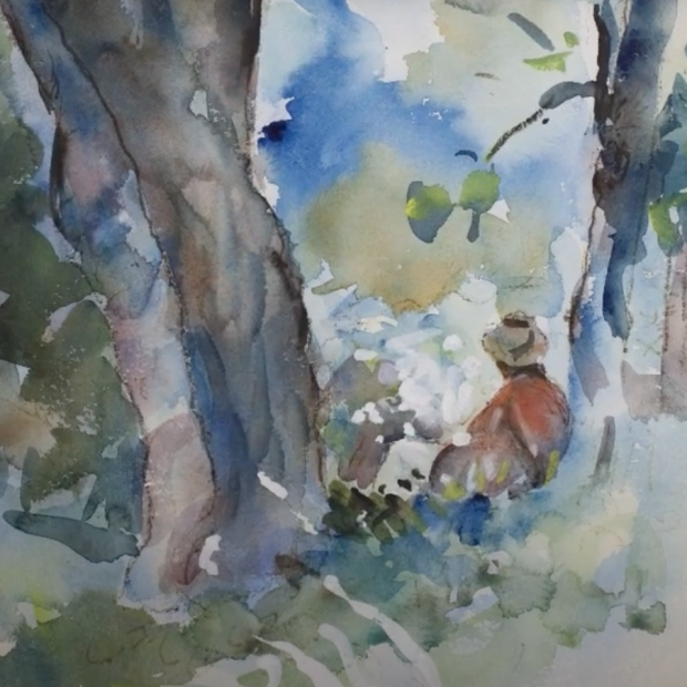 Watercolor showing a figure under a tree, seen from behind