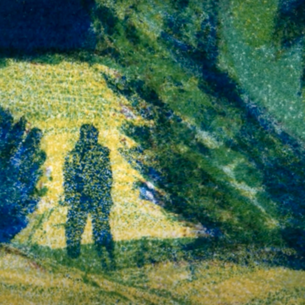 Figure silhouetted in a forest landscape