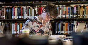 Student studying in Burling Library