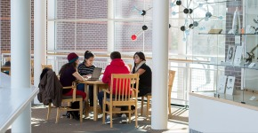Group of students study in Noyce study nook