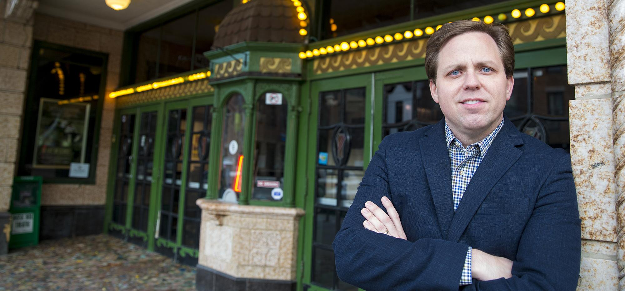 Adam Kempenaar in front of the Music Box Theater in Chicago