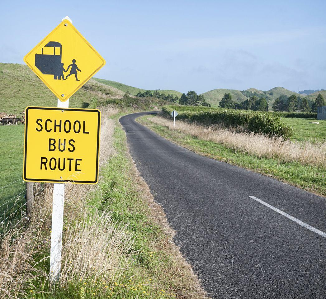 School bus route sign